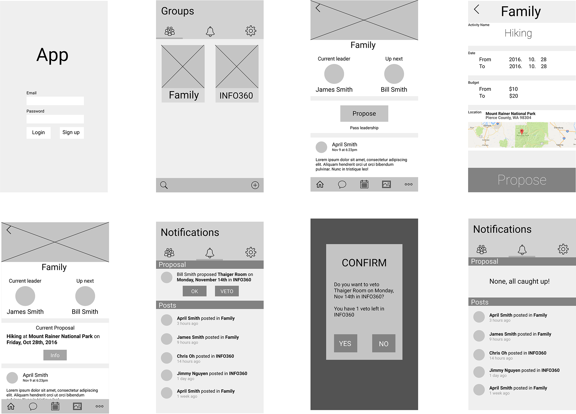 Wireframes for Leadr